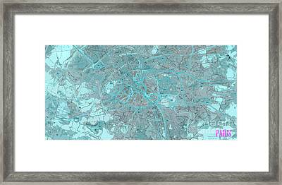 Paris Traffic Abstract Blue Map Framed Print by Pablo Franchi