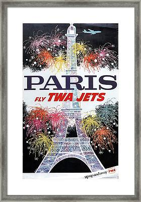 Paris - Twa Jets - Trans World Airlines - Eiffel Tower - Retro Travel Poster - Vintage Poster Framed Print