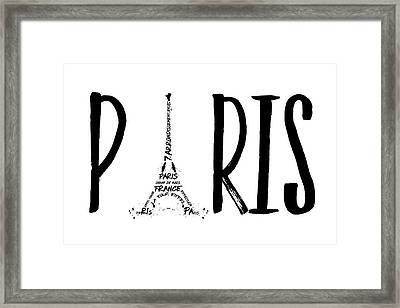 Paris Typography Framed Print by Melanie Viola