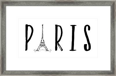 Paris Typography Panoramic Framed Print