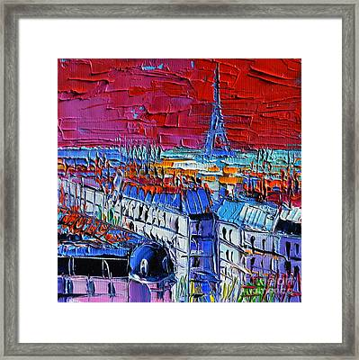 Paris View - Printemps Rooftop Terrace Framed Print by Mona Edulesco