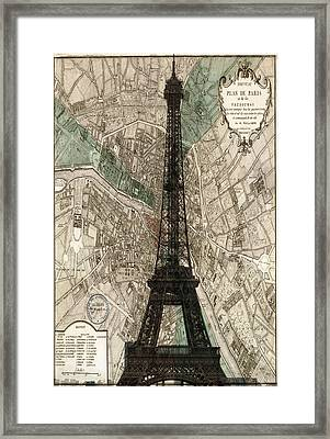 Paris Vintage Map And Eiffel Tower Framed Print by Georgia Fowler