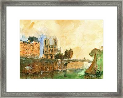 Paris Watercolor Framed Print by Juan  Bosco