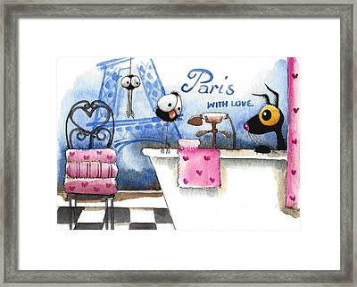 Paris With Love Framed Print by Lucia Stewart
