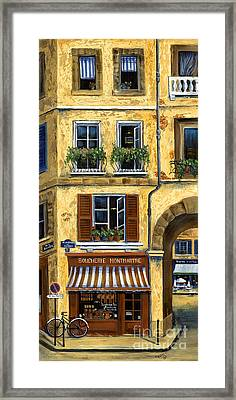 Parisian Bistro And Butcher Shop Framed Print by Marilyn Dunlap