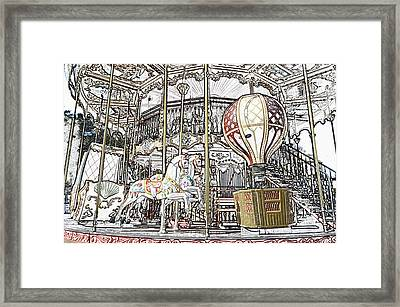 Parisian Carousel Paris France At The Base Of Eiffel Tower Colored Pencil Digital Art Framed Print by Shawn O'Brien