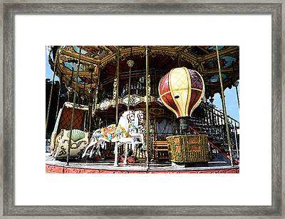 Parisian Carousel Paris France At The Base Of Eiffel Tower Painterly Fresco Digital Art Framed Print by Shawn O'Brien