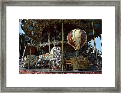 Parisian Carousel Paris France At The Base Of Eiffel Tower Poster Edges Digital Art Framed Print by Shawn O'Brien