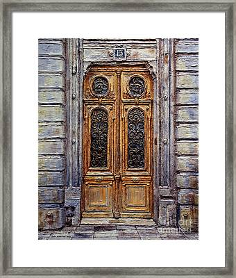 Framed Print featuring the painting Parisian Door No. 15 by Joey Agbayani