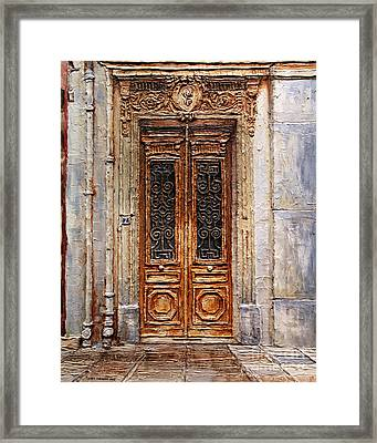 Framed Print featuring the painting Parisian Door No.7 by Joey Agbayani