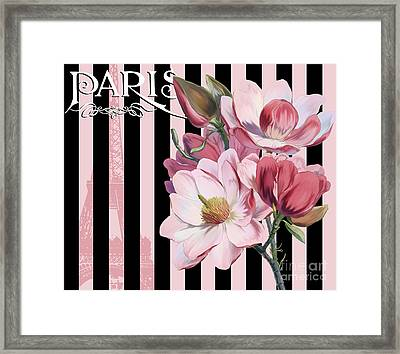 Parisian Pink Magnolias In Stripes, Eiffel Tower France Framed Print by Tina Lavoie