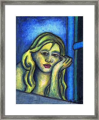Parisian Woman Waiting By The Window Still Framed Print by Kamil Swiatek