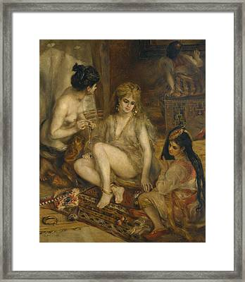 Parisiennes In Algerian Costume Or Harem Framed Print by Auguste Renoir