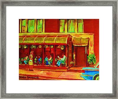Park Avenue Montreal Cafe Scene Framed Print by Carole Spandau