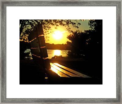 Park Bench At Sunset Framed Print