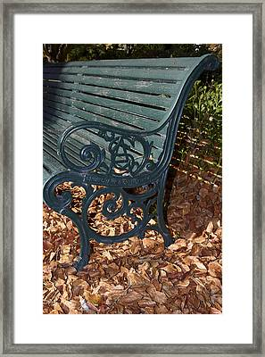 Park Bench In Autumn Framed Print by Geoff Bryant