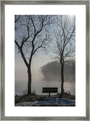Park Bench In Morning Fog Framed Print