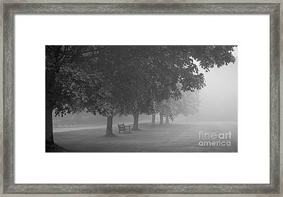 Park Bench In The Mist Framed Print by Richard Thomas