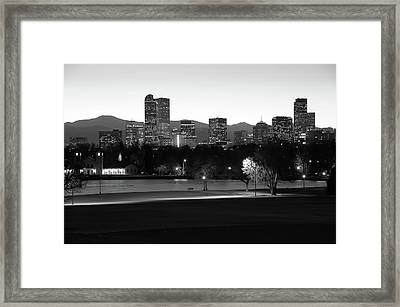 Framed Print featuring the photograph Park Bench Under The Denver Colorado Skyline - Black And White by Gregory Ballos