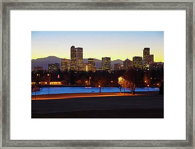 Framed Print featuring the photograph Park Bench Under The Denver Colorado Skyline by Gregory Ballos