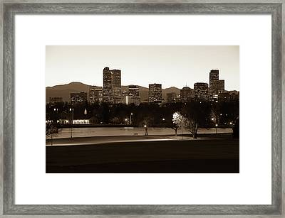 Framed Print featuring the photograph Park Bench Under The Denver Colorado Skyline - Sepia 2 by Gregory Ballos
