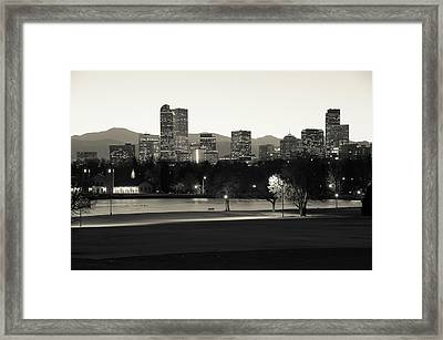 Framed Print featuring the photograph Park Bench Under The Denver Colorado Skyline - Sepia by Gregory Ballos