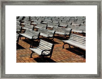Park Benches Framed Print by Perry Webster