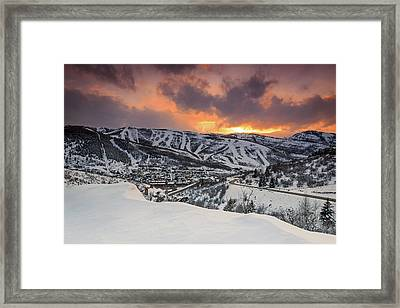Park City Winter Sunset. Framed Print