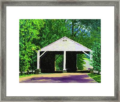 Park Covered Bridge Framed Print by Stan Hamilton