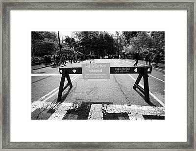 park drive closed sign on a sunday central park New York City USA Framed Print