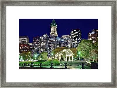 Park Entrance In Boston Framed Print by Frozen in Time Fine Art Photography