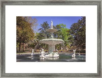 Park Fountain Framed Print by Joan McCool