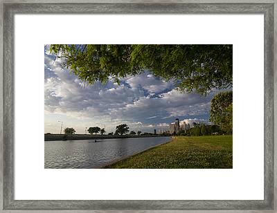 Park Scene With Rower And Skyline Framed Print by Sven Brogren