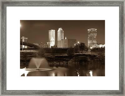 Park View Of The Tulsa Skyline Sepia - Oklahoma Usa Framed Print by Gregory Ballos
