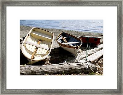 Parked Boats Framed Print by Sonja Anderson