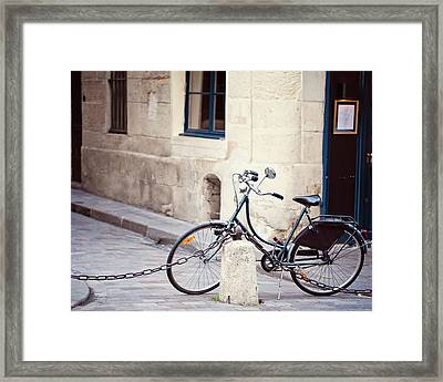 Parked In Paris - Bicycle Photography Framed Print by Melanie Alexandra Price