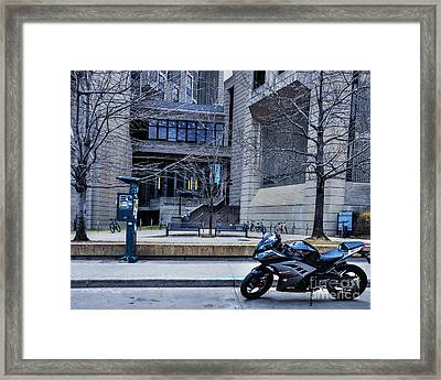 Parked Motor Cycle Framed Print
