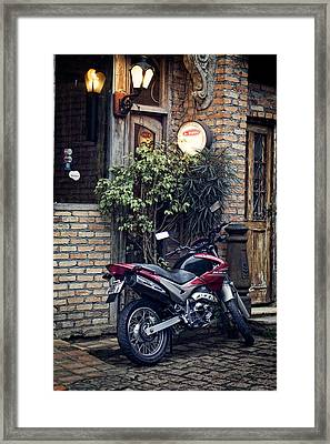 Framed Print featuring the photograph Parked Motorcycle by Kim Wilson