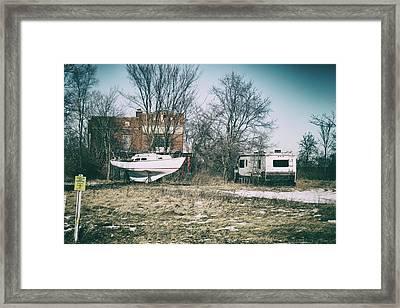 Parked Traveler Framed Print