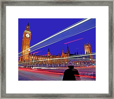 Parliament Square With Silhouette Framed Print by Chris Smith