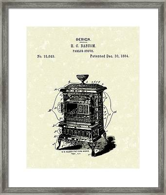 Parlor Stove Bascom 1884 Patent Art Framed Print by Prior Art Design