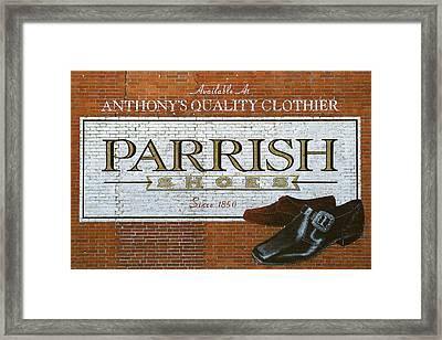 Parrish Shoes, Jumanji Sign Framed Print by Michael Plotczyk