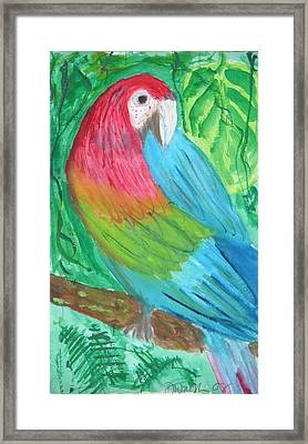 Framed Print featuring the painting Parrot At Sundy House by Donna Walsh