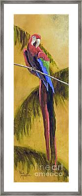 Parrot Is A Character With Gold Leaf By Vic Mastis Framed Print by Vic  Mastis