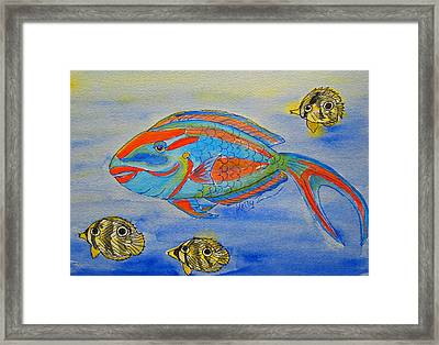 Parrotfish And Butterflies Framed Print