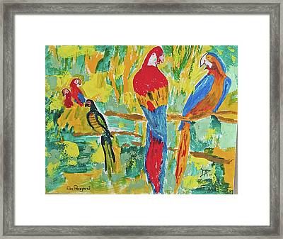 Framed Print featuring the painting Parrots by Donald Paczynski