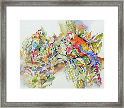 Framed Print featuring the painting Parrots In Paradise by Mary Haley-Rocks