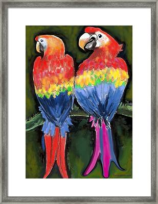 Framed Print featuring the painting Parrots by Kevin Middleton