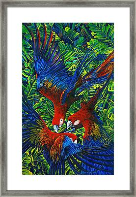 Parrots With Newborn Framed Print