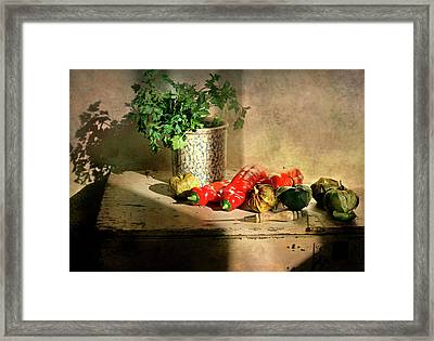 Framed Print featuring the photograph Parsley And Peppers by Diana Angstadt